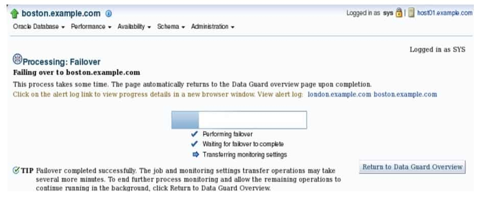 Failover by Using Enterprise Manager