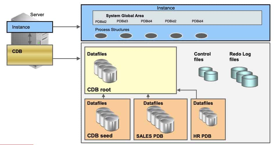 Oracle Multitenant Container Database architecture