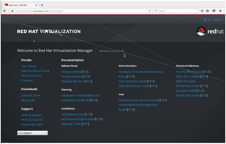 Red Hat Virtualization Manager Landing Page