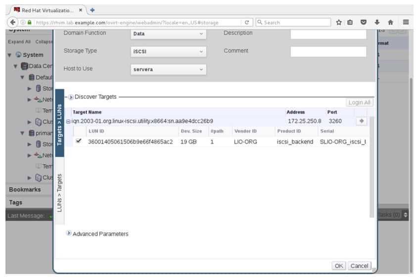 Selecting a LUN to create the iSCSI-based storage domain
