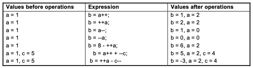 Examples for unary operators