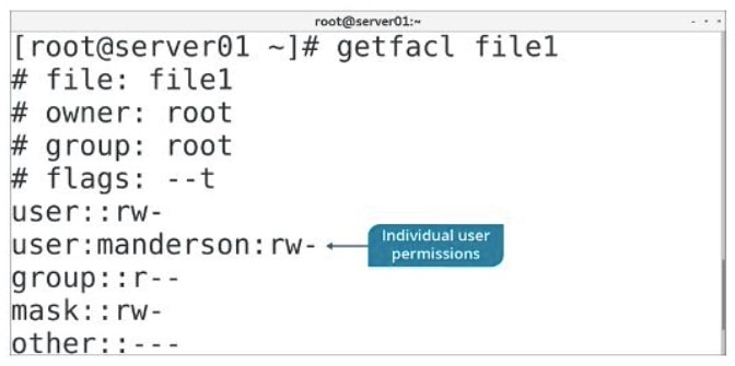 getfacl command output