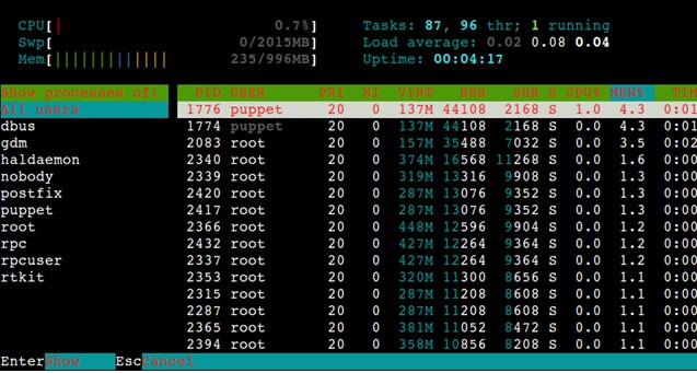 htop command in Linux
