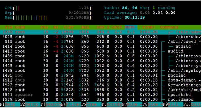 display processes of a particular user using htop