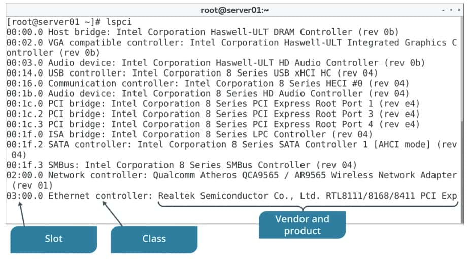 lspci command examples in Linux